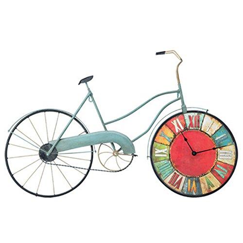 Vintage Wanduhr Eisen Wanduhren Fahrrad Wandtattoo Leise Funkwanduhr C-Cakus Küchenwanduhr Dekoration für Wohnzimmer Kinderzimmer Bar (farbig, 81*53cm)