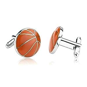 ANAZOZ Schmuck Edelstahl Herren Manschettenknöpfe Emaille Sport Basketball Orange, Manschetten Knöpfe für Männer