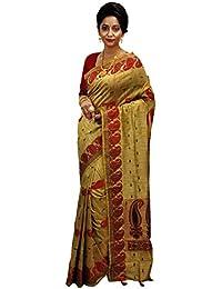 Avik Creations Women's Assam Tassar Art Silk Traditional Saree Golden Red