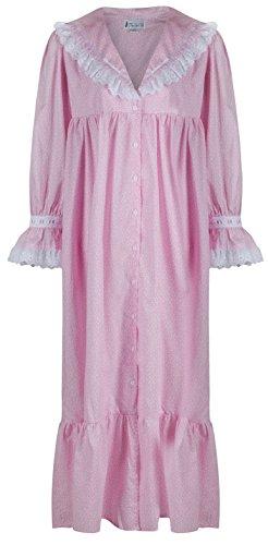 The 1 for U 100% Baumwolle Viktorianisches Stil Nachthemd / Hausmantel Amelia XS - Rosa Schmetterling, Large