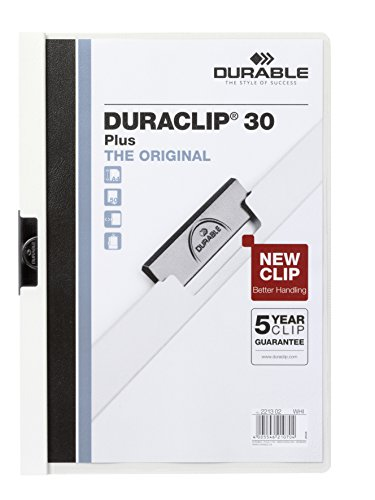 Preisvergleich Produktbild Durable Klemm-Mappe Duraclip PLUS, bis 30 Blatt, weiß, 2213-02