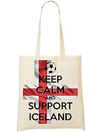1GD Keep Calm Support Iceland Bolso De Mano Bolsa De La Compra