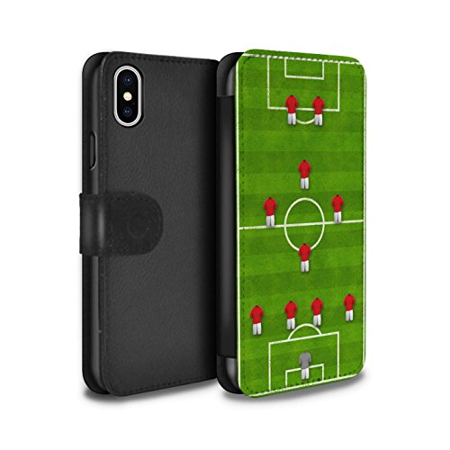 Stuff4 Coque/Etui/Housse Cuir PU Case/Cover pour Apple iPhone X/10 / 4-4-2/Blanc Design / Formation Football Collection 4-1-2-1-2/Rouge