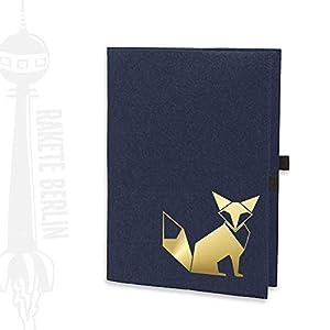 Filzhülle/-umschlag für A4 Kladde - 'Fuchs Origami' mit Steckfächern und Stiftschlaufe