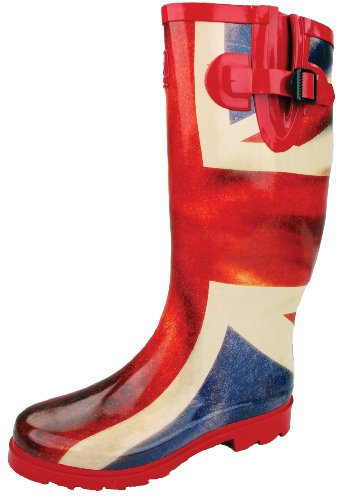 Highlander Countrywoman Bottes en caoutchouc rouge - Union Jack Flag