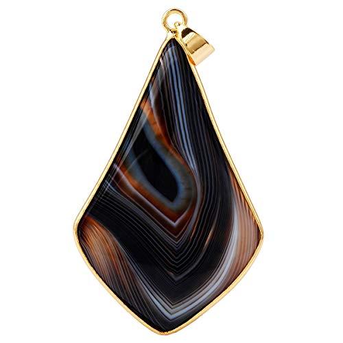 KYEYGWO Teardrop Stein Baumeln Anhänger Halskette für Frauen Männer, Mode Vergoldet Healing Kristall Ketten mit Kette 25cm