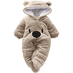 DAY8 Vêtement Bébé Garçon Hiver Chaud Pyjama Bébé Garçon Naissance Pas Cher Combinaison Bébé Fille À Capuche Automne Body Nouveau Né Fille Manteau Barboteuse Combipilote Chic (6M(3-6 Mois), Marron)