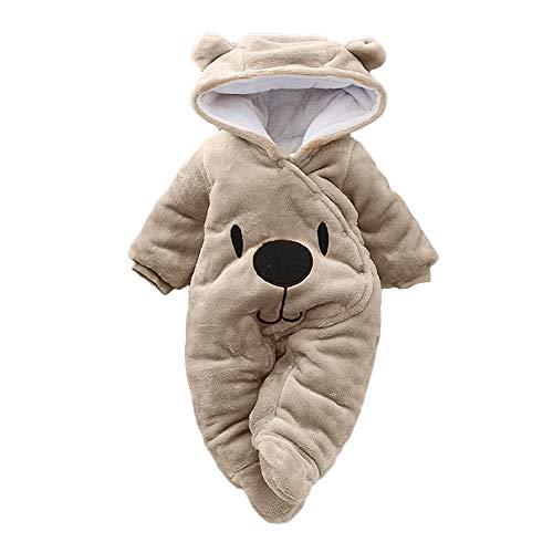 DAY8 Vêtement Bébé Garçon Hiver Chaud Pyjama Bébé Garçon Naissance Pas Cher Combinaison Bébé Fille À Capuche Automne Body Nouveau Né Fille Manteau Barboteuse Combipilote Chic (3M(0-3 Mois), Marron)