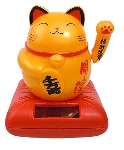 Lucky Charm Cat Figurine?Solar?8.5x 7cm?orange
