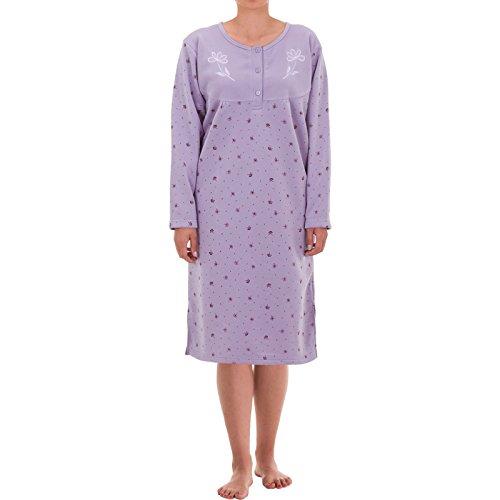 Hoang Lucky Langarm Thermo Nachthemd mit Blumen Druck, Größe:L;Farbe:Flieder - Nachthemd Langarm Thermo