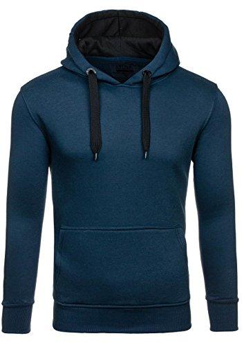 BOLF – Felpa con cappuccio – Pullover – Sweat-shirt – J.STYLE 2075-4 – Uomo Blu scuro-Nero