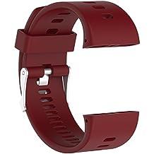 Correa de reloj de recambio–suave silicona hebilla de metal correa de hebilla de reloj muñeca reloj banda pulsera para polar V800GPS reloj deportivo con herramientas, color rojo oscuro