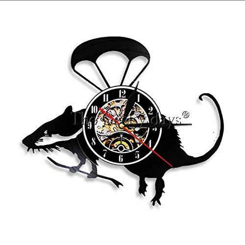 Retro Vinyl Schallplatte Wanduhr Kleine Maus Cartoon Haustier Maus Kinderzimmer Dekoration Tier Bio Wandkunst Uhr Raumdekoration ()
