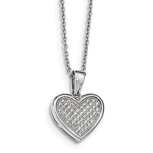 925Sterling Silber und Cubic Zirkonia Brilliant Glut Poliert Herz Halskette mit 2ext Hals 18
