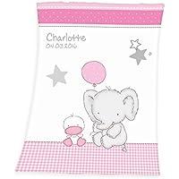 Wolimbo Flausch Babydecke mit Ihrem Wunsch-Namen und Motiv - personalisierte/individuelle Geschenke für Babys und Kinder zur Geburt, Taufe und Geburtstag - 75x100 cm für Mädchen und Jungen
