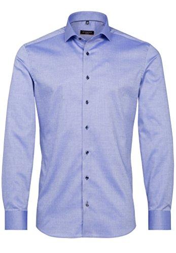 Eterna Long Sleeve Shirt Slim Fit Natté-Stretch Structured Blu