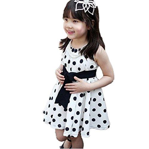 Vovotrade 1PC Kinder Kinder Kleidung Tupfen-Mädchen Chiffon Sommerkleid Kleid (Weiß, Size:100 (Halloween Kostüme Weißes Blatt)