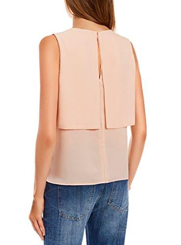 oodji Ultra Femme Top en Tissu Léger et Fluide Rose (4000N)