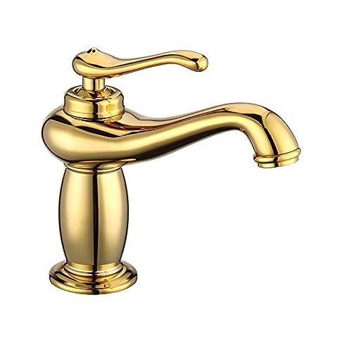 dahuuyus Modern Style Elegant und praktisch Home Küche und Bad faucetseuropean Gold Wasserhahn alle Kupfer mit heißem und kaltem Wasser Oberfläche Waschbecken Wasserhahn Gold Komplex klassischen Wasserhahn