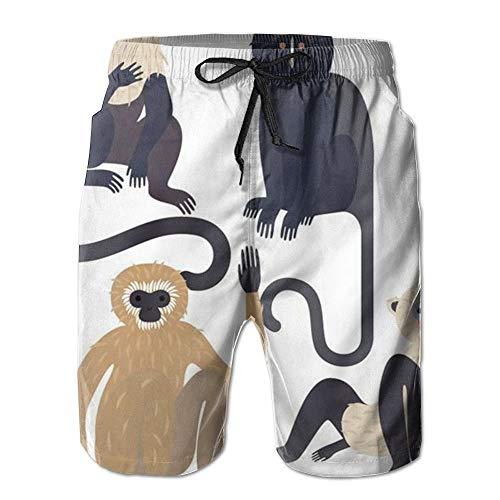 Monkey Animal Zoo Hygroscopic Men Board Shorts Pool Party Swim Short M-XXL XX-Large
