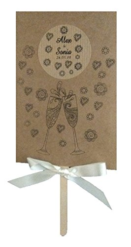 25 Abanicos personalizados para tu boda, detalle para invitados