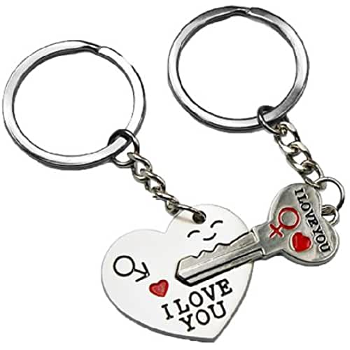 Smallwise Trading Couple Keychain Keyring --- I Love You Heart + Key --- Lover Sweetheart Gift for Valentines Day / Wedding Anniversary / Birthday