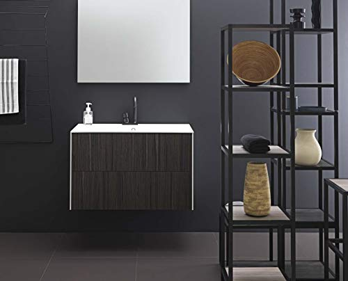 Dafnedesign.com - mobile da bagno con top in ocritech effetto legno (cm. l87xp48xh55)
