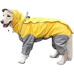 Victorie Mascota Chubasqueros Con Capucha Para Perro Pequeño Medianas Y Grandes Excursión Acampada Amarillo Talla M
