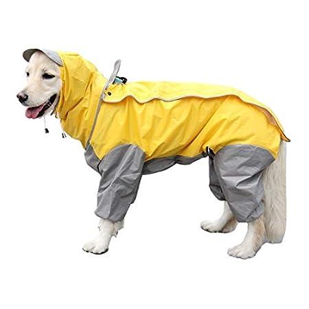 VICTORIE Hund Regenmantel Schneejacke Poncho Regensjacke Warm Herbst/Winter Wasserdicht Winddicht Reflektierende für große mittlere Kleine Hund Gelb