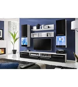 meuble tv design laqu luna noir avec eclairage led cuisine maison. Black Bedroom Furniture Sets. Home Design Ideas