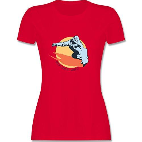 Wintersport - Do it live it love it - snowboard - tailliertes Premium T-Shirt mit Rundhalsausschnitt für Damen Rot