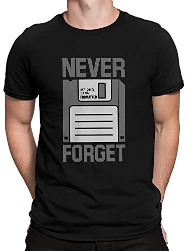 vanVerden Herren T-Shirt Never Forget - Diskette Floppy - Nerd Geek, Farbe:Schwarz, Größe:5XL