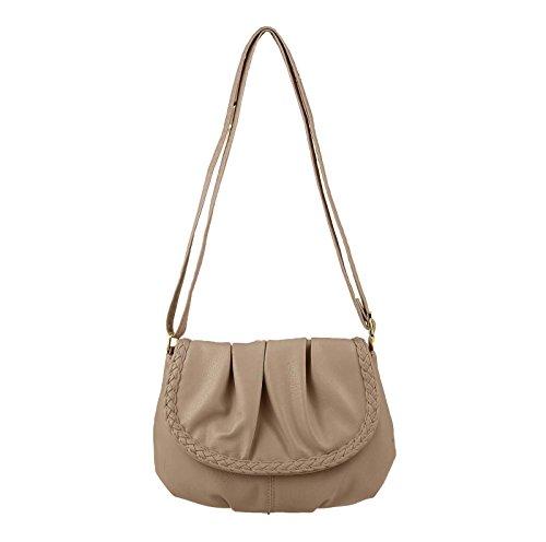 OBC Kleine Damen Tasche Umhängetasche Schultertasche Handtasche Clutch Taupe