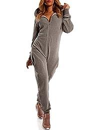 4570822e7a Crazy Age Damen Jumpsuit aus Samt (Nicki, Velvet) Wohlfühlen mit Style.  Elegant, Kuschelig, Weich. Overall, Ganzkörperanzug, Jogging…