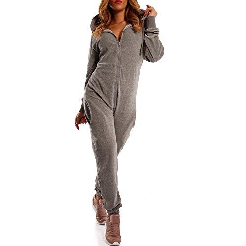 Crazy Age Damen Jumpsuit aus Samt (Nicki, Velvet) Wohlfühlen mit Style. Elegant, Kuschelig, Weich. Overall Ganzkörperanzug Onesie (Grau, XL)