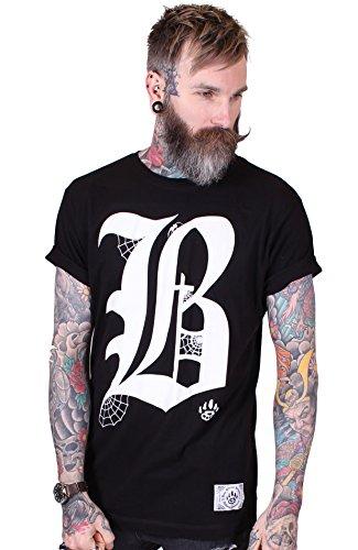 Bear Knuckle Brawlers Designer Tshirt für Männer B' Schwarz L (EP11) (Gothic Kleidung Alchemy)