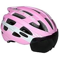 XDXDWEWERT Bicicleta Casco Ciclismo Bike con Gafas Desmontables Casco Bike Casco Adulto Ajustable de una Pieza (Rosa + Blanco)