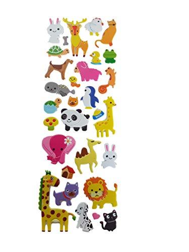 Fat-catz-copy-catz - verschiedene Designs für Kinder Jungen Mädchen Puffy 3D Style Sticker: Zoo Tiere, Fische, Bauernhoftiere zum Basteln Kinder Scrapbooking Pinata, 750 Zoo Animals, Einheitsgröße