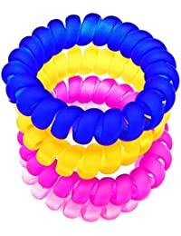Transparent Matte Multi-Colour Spiral Hair Rubber Band Ponytail Holder For Girl's And Woman's. Set Of 4 Pcs
