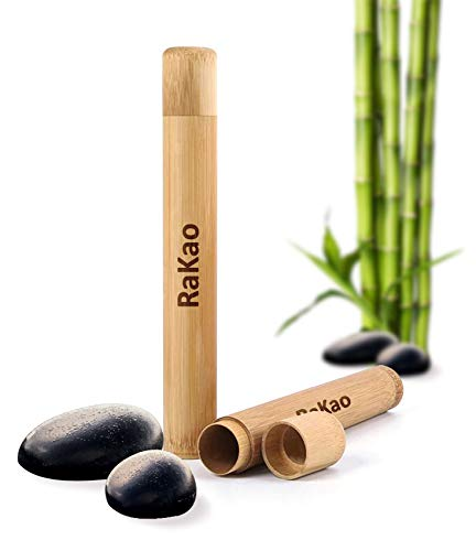 RaKao Zahnbürstenhülle aus Bambus-Hülle Umweltfreundlich-Perfekt zum Reisen-Toothbrush case-Bamboo-Reise etui