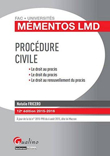 Mmentos LMD - Procdure civile 2015-2016, 12me Ed.