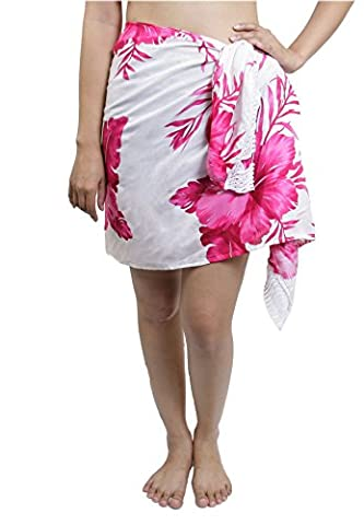 Lofbaz Women's Half Wrap Sarong With Fringe Swimsuit Beach White