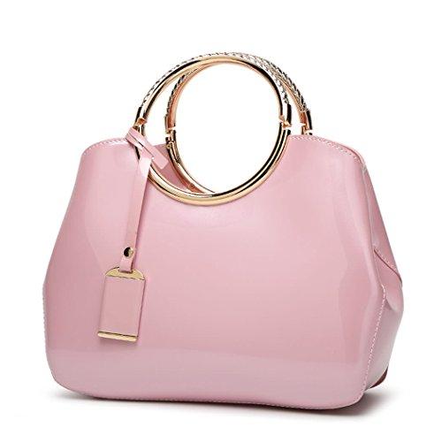DEERWORD Damen Umhängetaschen Handtaschen Totes Henkeltaschen Schultertaschen Leder Rosa -