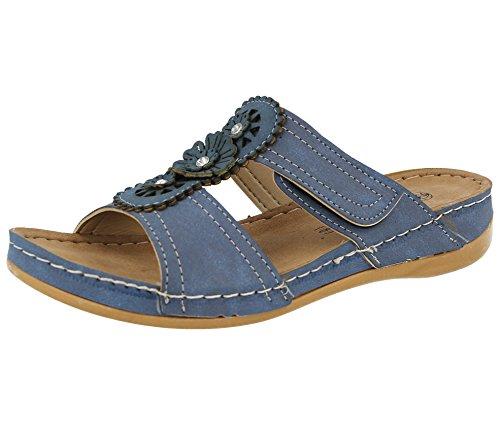 Gezer - ciabatte da donna in ecopelle, ciabatte tipo sandalo estivo con tacco basso, disponibili nei numeri dal 37 al 42, blu (blue), 4-6 mesi