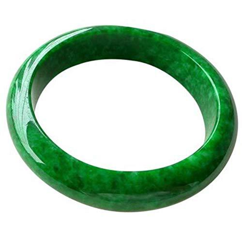 KTT Natürlicher Smaragd trockener grüner Jade-Armband-Edelstein-heilende Energie-echtes Armband ziehen gutes Glück an,56-58MM