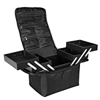 Beauty Make up Nail Art Vanity Case Cosmetics Box Jewellery Storage Cases with Carry Strap Oxford Fabric Black
