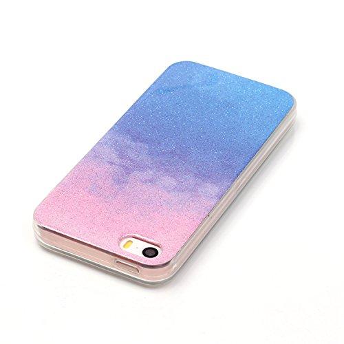 TPU Luxus Glitzer Case Cover iPhone 5 5S SE Hülle mit Kratzfeste Stoßdämpfende Strass Shining Sparkle Schutzhülle Ultra Thin Light Kristall Schutz Matt Schale Bumper für Apple iPhone 5 5S SE +Staubste 3