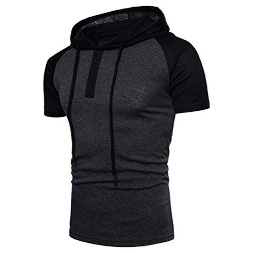 Patchwork Hoodie Hooded VENMO Poloshirt Herren Polo Shirt mit Stehkragen Cooles T-Shirt Sommer Strand Party Club Casual Sport T-Shirt Kurzarm Hedging Slim Fit Bluse für Jogging Yoga Tops (Dark Gray, L) (Cardigan Detail V-neck)