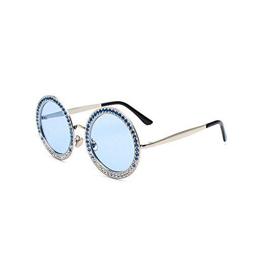 JUNHONGZHANG Persönlichkeit Gläser Diamond Sonnenbrille Temperament Spitze Gläser Straße Foto Elegante Dekorative Sonnenbrille, Silbernen Rahmen Blau