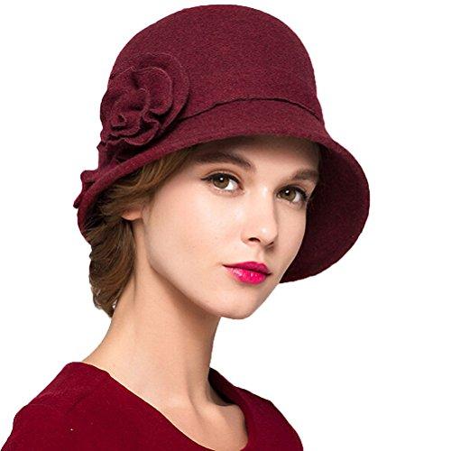 Maitose™ Damen Wollfilz Blumen Kirche Melonen Wine (Lady Kostüm Red Hat)